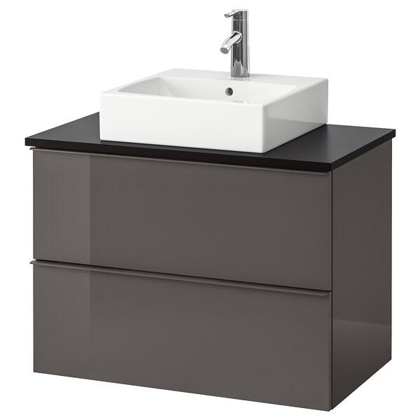 GODMORGON/TOLKEN / TÖRNVIKEN Meuble lavabo av lav à poser 45x45, brillant gris/anthracite Dalskär mitigeur lavabo, 82x49x72 cm