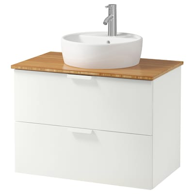 GODMORGON/TOLKEN / TÖRNVIKEN Meuble lavabo av lavabo à poser 45, blanc/bambou Dalskär mitigeur lavabo, 82x49x74 cm