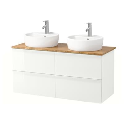 GODMORGON/TOLKEN / TÖRNVIKEN Meuble lavabo av lavabo à poser 45, brillant blanc/bambou Dalskär mitigeur lavabo, 122x49x74 cm