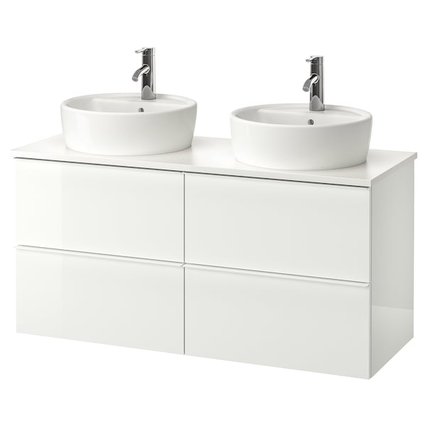 GODMORGON/TOLKEN / TÖRNVIKEN Meuble lavabo av lavabo à poser 45, brillant blanc/blanc Dalskär mitigeur lavabo, 122x49x74 cm