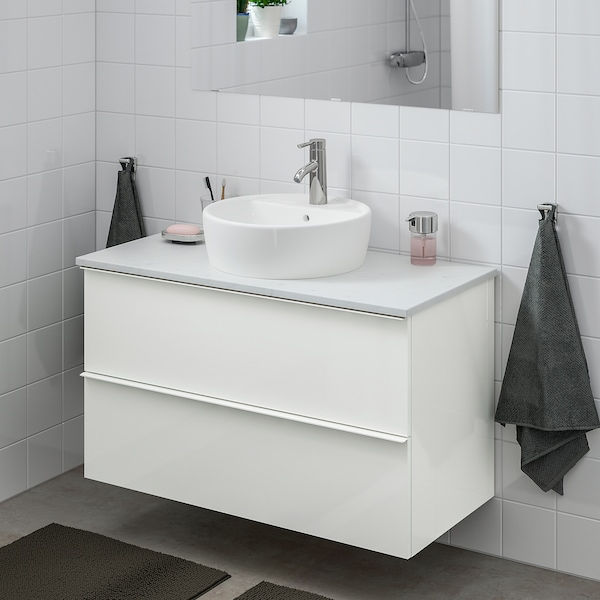 GODMORGON/TOLKEN / TÖRNVIKEN Meuble lavabo av lavabo à poser 45, brillant blanc/marbré Dalskär mitigeur lavabo, 102x49x74 cm