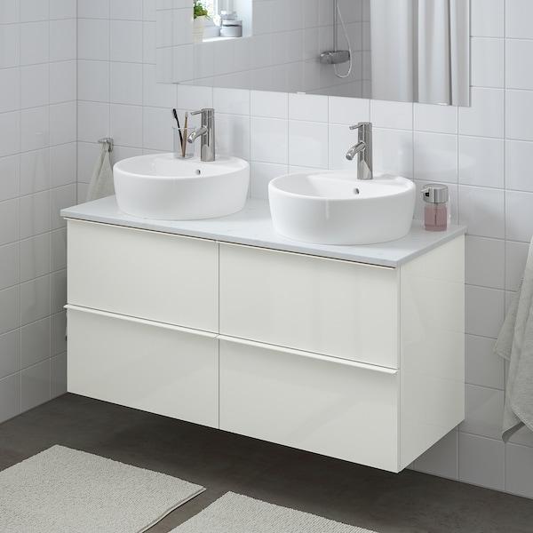 GODMORGON/TOLKEN / TÖRNVIKEN Meuble lavabo av lavabo à poser 45, brillant blanc/marbré Dalskär mitigeur lavabo, 122x49x74 cm