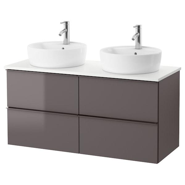 GODMORGON/TOLKEN / TÖRNVIKEN Meuble lavabo av lavabo à poser 45, brillant gris/blanc Dalskär mitigeur lavabo, 122x49x74 cm