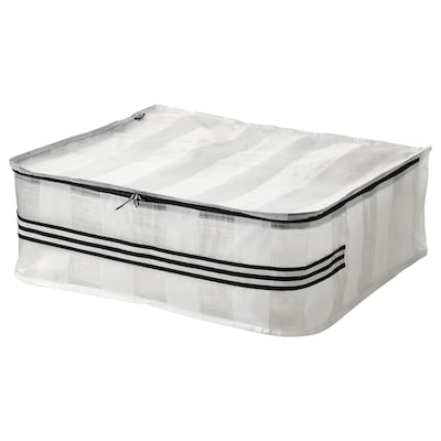 GÖRSNYGG Sac de rangement, blanc/transparent, 55x49x19 cm