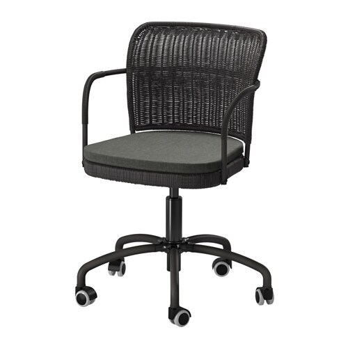gregor chaise pivotante noir svanby gris ikea. Black Bedroom Furniture Sets. Home Design Ideas