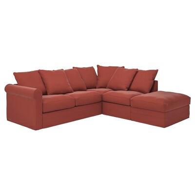 GRÖNLID Canapé d'angle, 4 places, sans accoudoir/Ljungen rouge clair