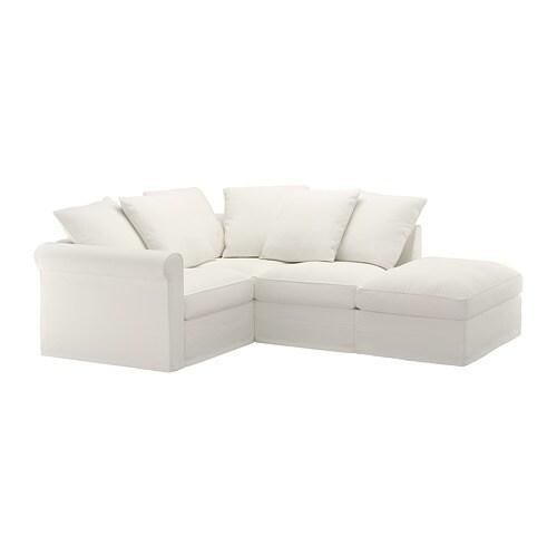 Gr nlid canap d 39 angle 3 places sans accoudoir inseros blanc ikea - Ikea canape d angle ...