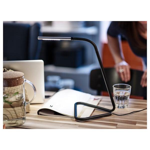HÅRTE Lampe de bureau à LED, noir/couleur argent