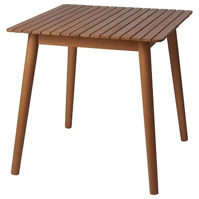 HATTHOLMEN Table, extérieur, eucalyptus/chêne clair, 75x75x74 cm
