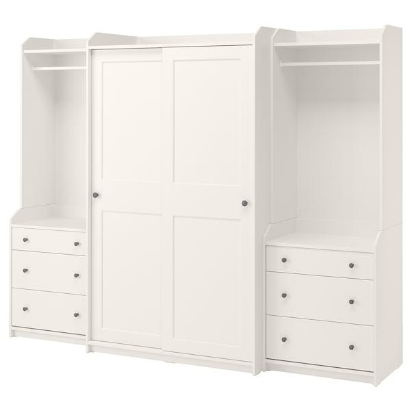 HAUGA Combinaison armoire, blanc, 258x55x199 cm