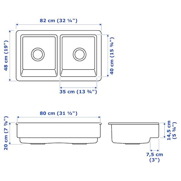 HAVSEN Évier, 2 bacs face avant visible, blanc, 82x48 cm