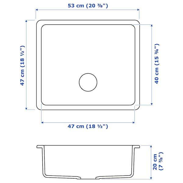 HAVSEN Évier intégré, 1 bac, blanc, 53x47 cm