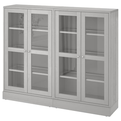 HAVSTA Combinaison rangement ptes vitrées, gris, 162x37x134 cm