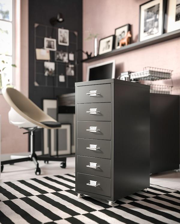 HELMER Caisson à tiroirs sur roulettes, noir, 28x69 cm