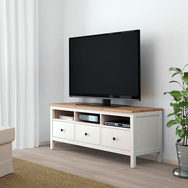 HEMNES Banc TV, teinté blanc/brun clair, 148x47x57 cm