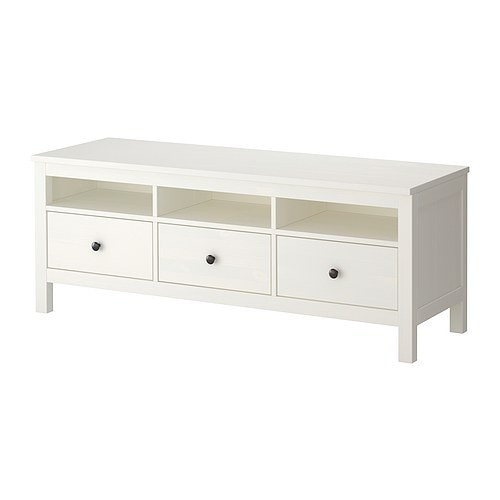 Hemnes banc tv teint blanc ikea for Meuble tv hemnes