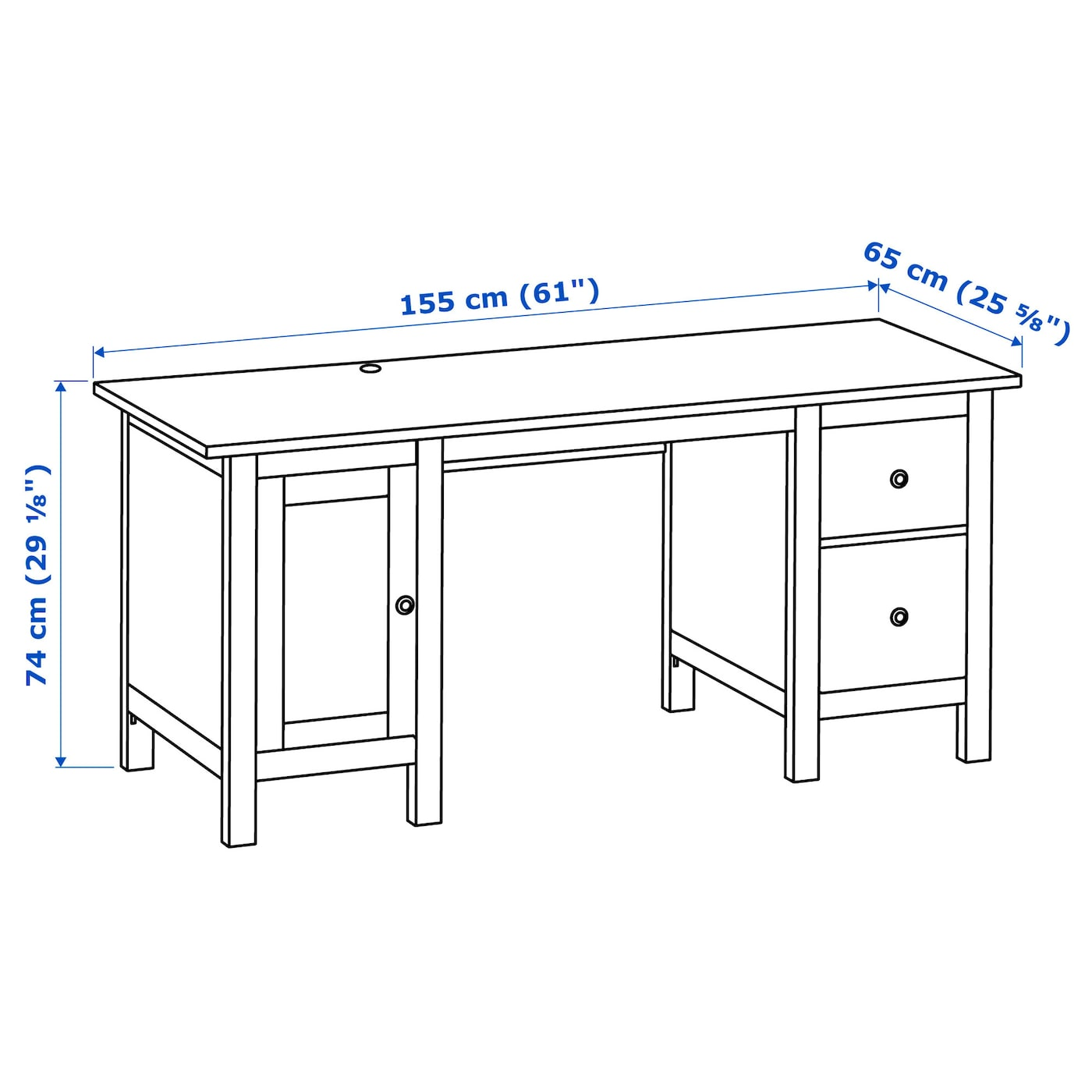 Hemnes Bureau Teinte Blanc 155x65 Cm Ikea
