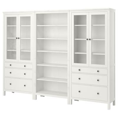 HEMNES Combi rangement portes/tiroirs, teinté blanc, 270x197 cm