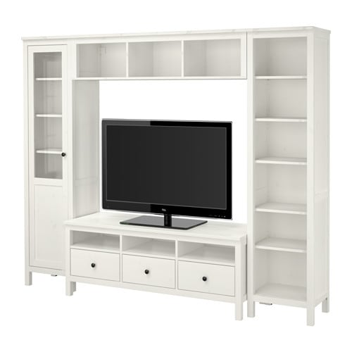 Hemnes combinaison meuble tv teint blanc ikea for Meuble bas salon ikea