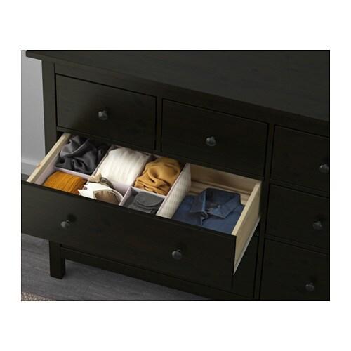 hemnes commode 8 tiroirs brun noir ikea. Black Bedroom Furniture Sets. Home Design Ideas