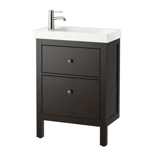 hemnes hagaviken meuble lavabo 2tir brun noir ikea. Black Bedroom Furniture Sets. Home Design Ideas