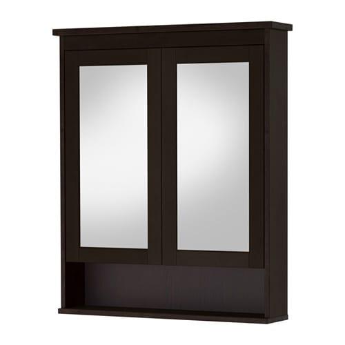 Hemnes meuble miroir 2 portes teinture noir brun for Meuble 4 portes ikea