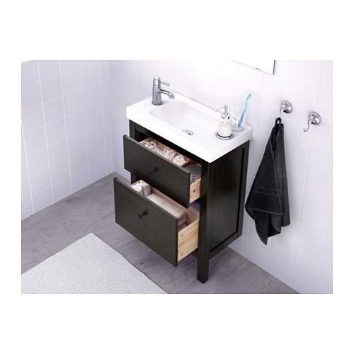 Hemnes Meuble Lavabo 2tir Teinture Noir Brun 60x32x83 Cm Ikea