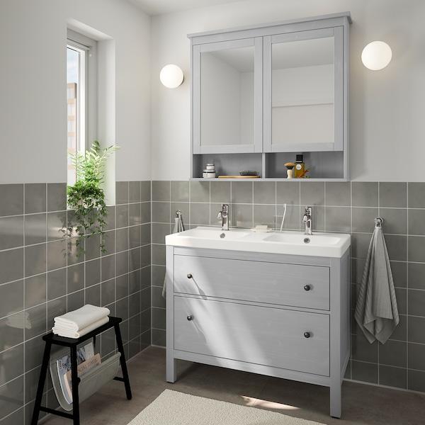 HEMNES / ODENSVIK Mobilier salle de bain, 5 pièces, gris/Voxnan mitigeur lavabo, 103 cm