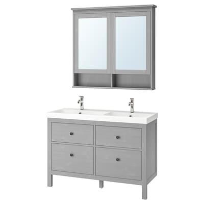 HEMNES / ODENSVIK Mobilier salle de bain, 5 pièces, gris/Voxnan mitigeur lavabo, 123 cm