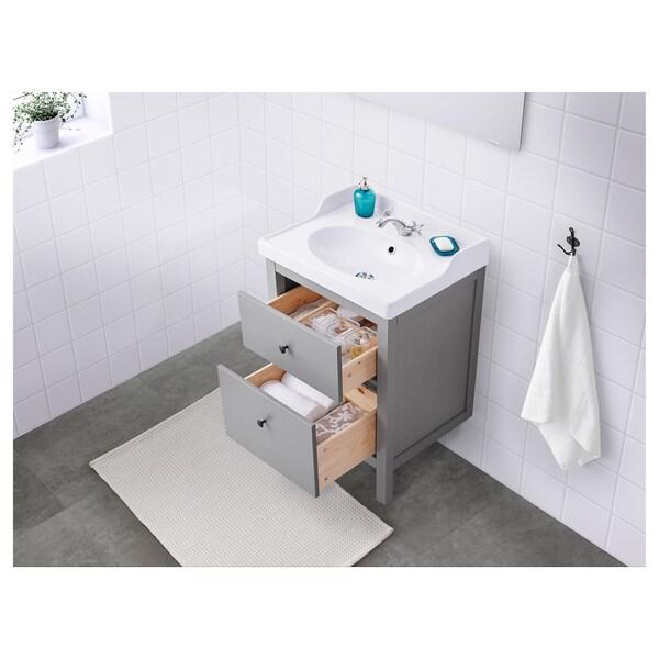 HEMNES / RÄTTVIKEN Meuble lavabo 2tir, gris, 62x49x89 cm