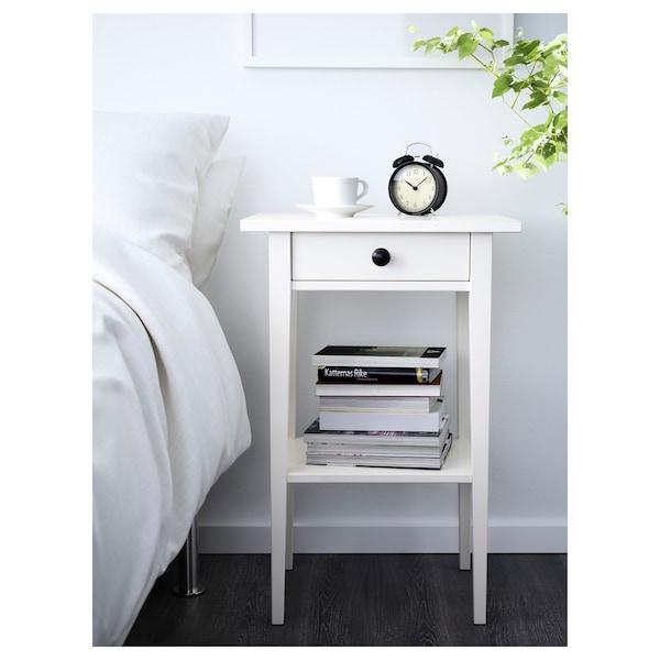 HEMNES Table de chevet, teinté blanc, 46x35 cm