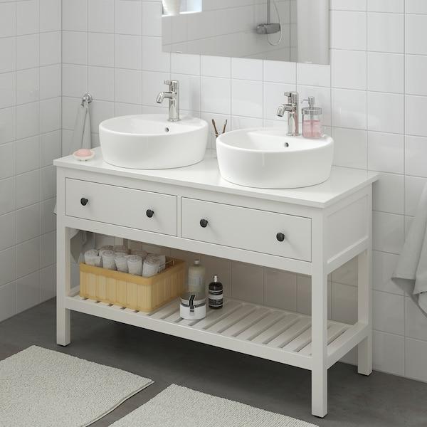 HEMNES / TÖRNVIKEN Meuble lav ouv+lavabo à poser 45, blanc/Voxnan mitigeur lavabo, 122x48x90 cm