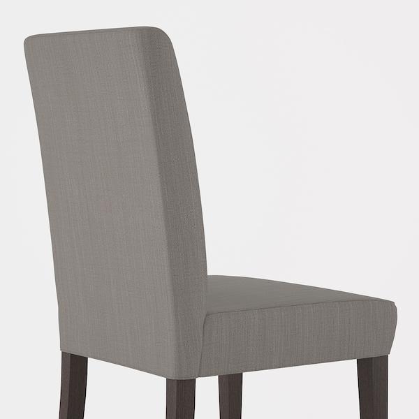 HENRIKSDAL Chaise, brun foncé/Nolhaga gris-beige