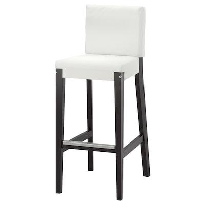 HENRIKSDAL Chaise de bar avec struct dossier, brun foncé, 74 cm