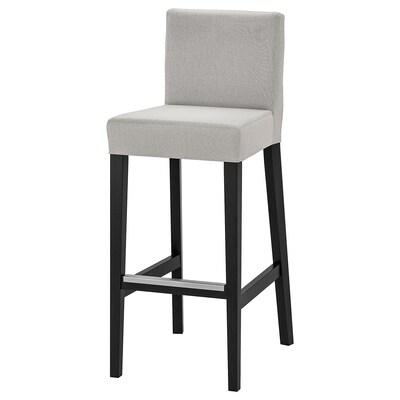 HENRIKSDAL Chaise de bar, brun noir/Orrsta gris clair, 74 cm