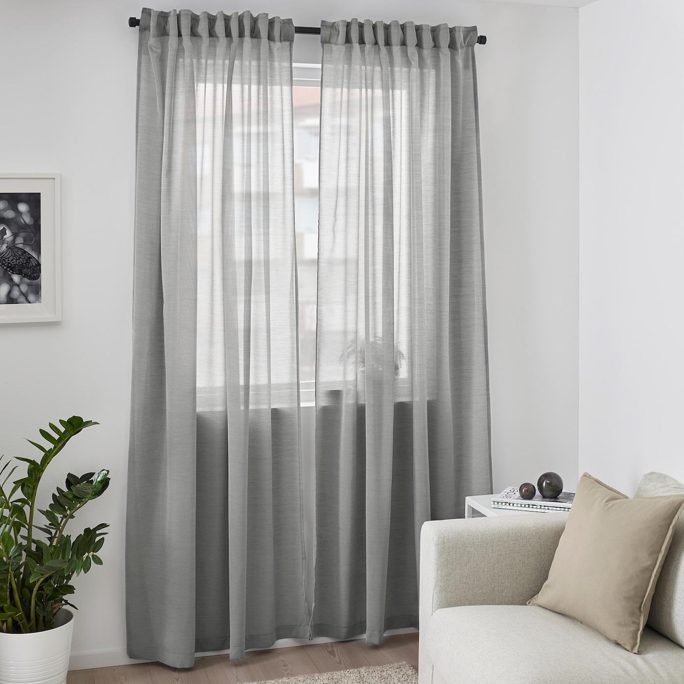 Rideau Gris Perle Ikea hilja rideaux, 2 pièces - gris 145x300 cm