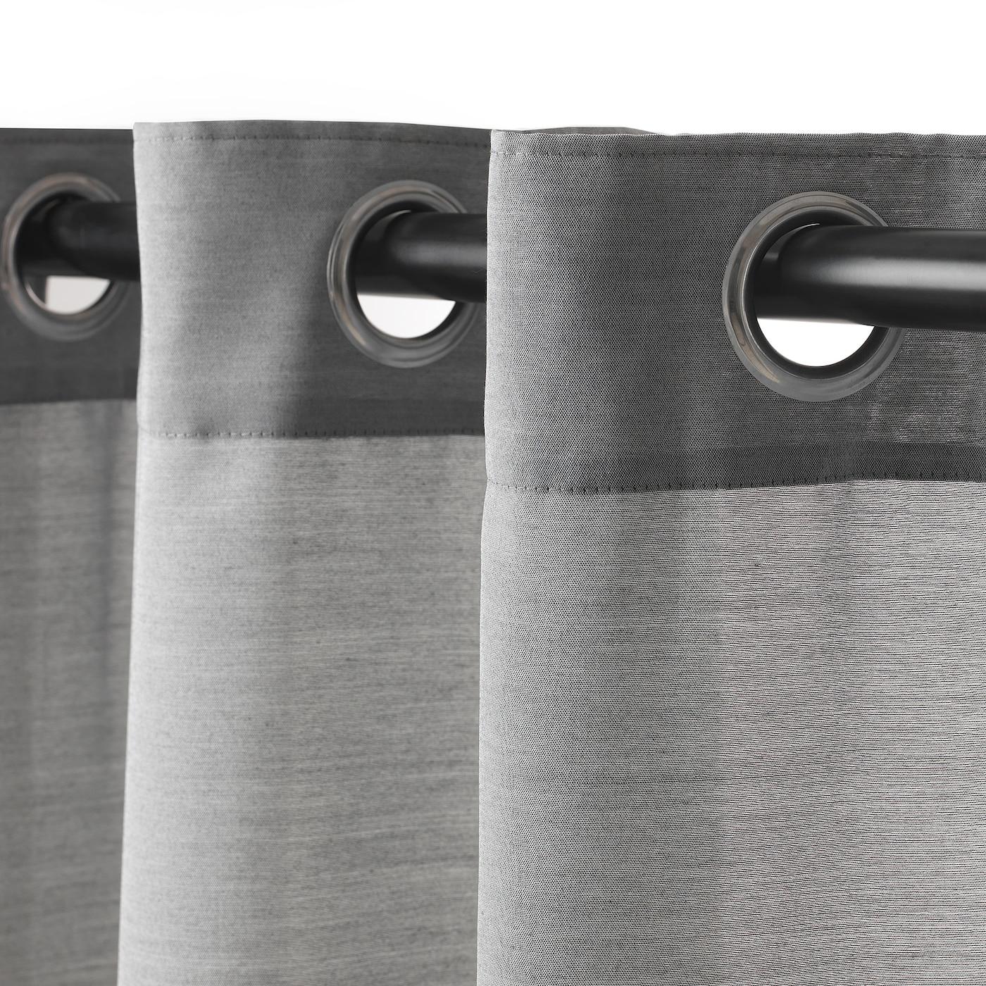 Rideau Gris Perle Ikea hilja rideaux, 2 pièces - gris avec oeillets 145x300 cm