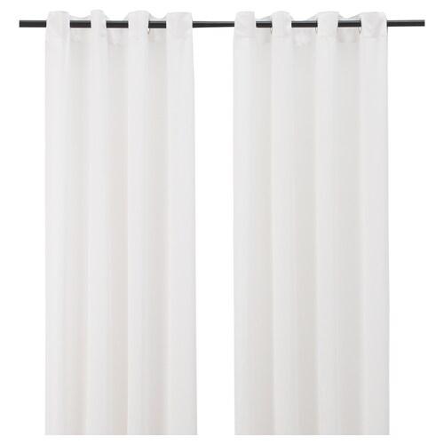 hilja rideaux 2 pieces blanc avec oeillets 145x300 cm