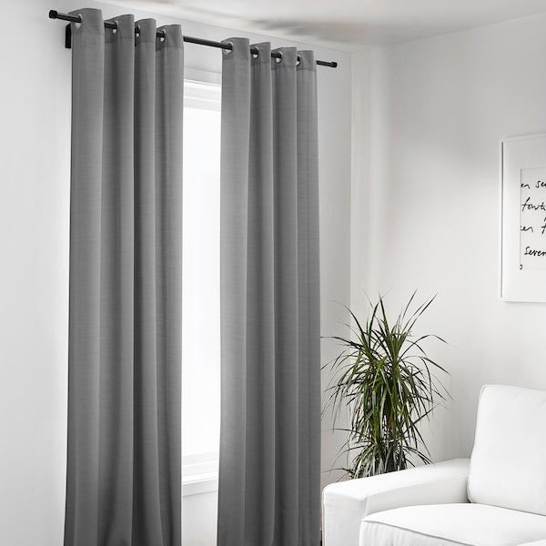 HILJA Rideaux, 2 pièces, gris avec oeillets, 145x300 cm