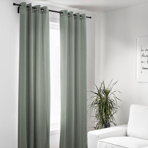 HILJA Rideaux, 2 pièces, gris vert avec oeillets, 145x300 cm
