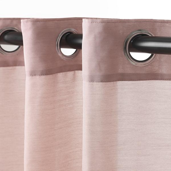 HILJA Rideaux, 2 pièces, rose avec oeillets, 145x300 cm