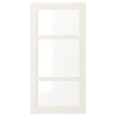 HITTARP Porte vitrée, blanc cassé, 40x80 cm