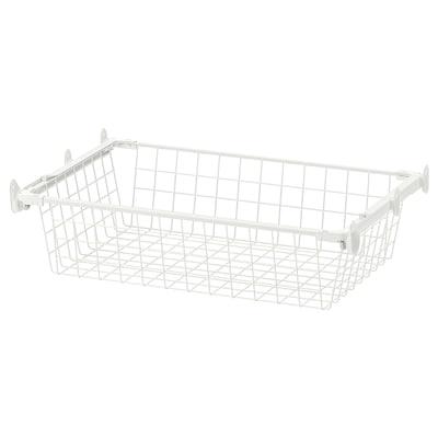 HJÄLPA Corbeille en fil+rail coulissant, blanc, 60x40 cm