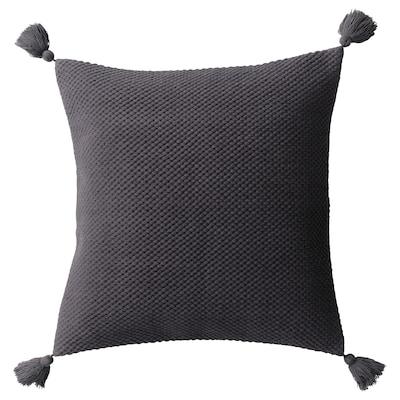 HÖSTKVÄLL Housse de coussin, pompon/gris, 50x50 cm