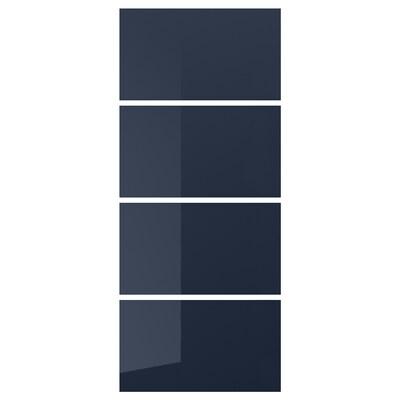 HOKKSUND 4 panneaux pr pte coul brillant bleu noir 100 cm 236 cm 0.4 cm