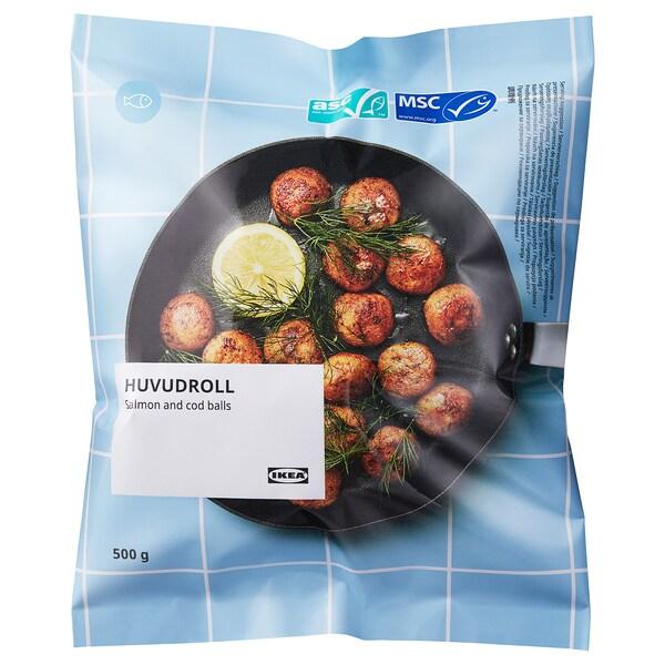 HUVUDROLL Boulettes saumon et cabillaud, certifié ASC/certifié MSC surgelé, 500 g