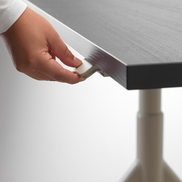IDÅSEN Bureau assis/debout, noir/beige, 120x70 cm