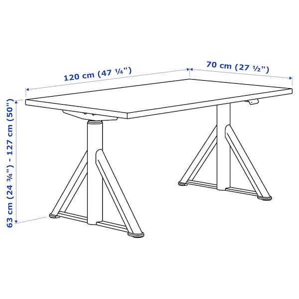 IDÅSEN Bureau assis/debout, noir/gris foncé, 120x70 cm