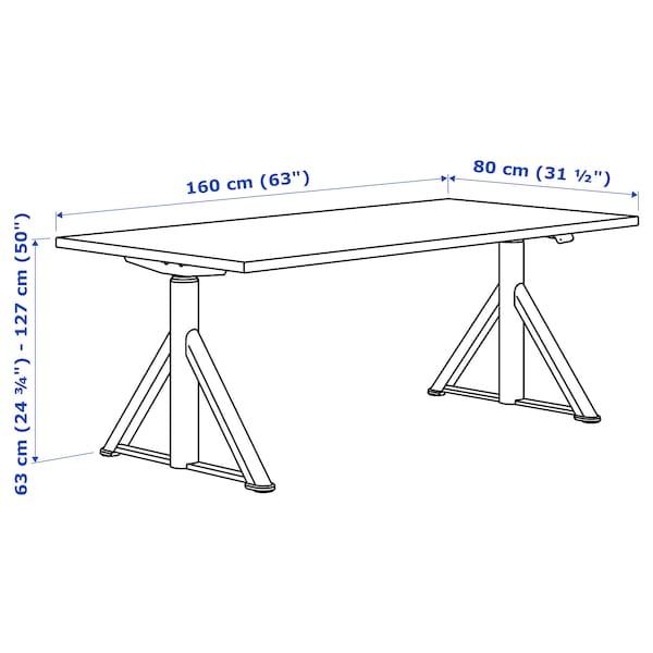 IDÅSEN Bureau assis/debout, noir/gris foncé, 160x80 cm
