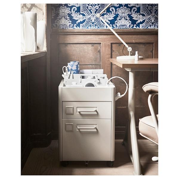 IDÅSEN Caisson à tiroirs sur roulettes, beige, 42x61 cm